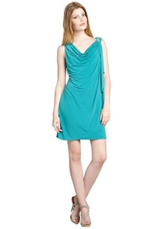 Max & Cleo turquoise jersey knit draped cowl neck 'Angie' dress
