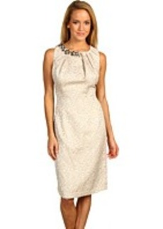 Max and Cleo Gold Jacquard Beaded Dress