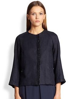 Max Mara Albio Bead-Front Linen Jacket