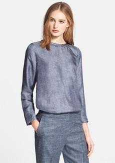 Max Mara 'Arte' Long Sleeve Silk Blouse
