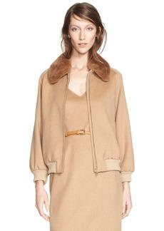 Max Mara 'Bergen' Camel Hair Jacket with Genuine Rabbit Fur Collar