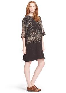 Max Mara 'Bianca' Owl Print Silk Crepe Tunic Dress