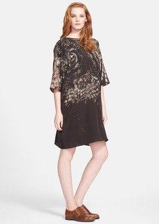 Max Mara 'Bianca' Owl Print Silk Crepe Tunic Dress