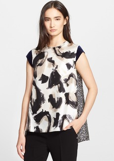 Max Mara 'Bosforo' Mix Print Silk & Twill Top