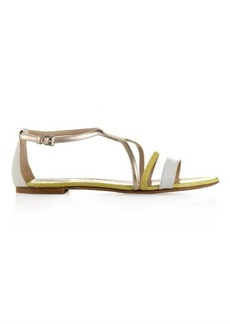Max Mara Brunner leather and snakeskin sandals