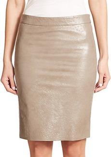 Max Mara Ecuba Faux-Leather and Wool Skirt