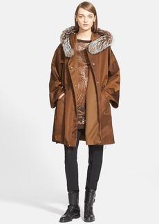 Max Mara 'Elica' Hooded Coat with Genuine Fox Fur Trim