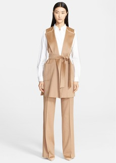 Max Mara 'Fascino' Long Camel Hair Vest with Belt