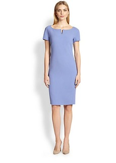 Max Mara Fiamma Wool Notched-Neck Dress