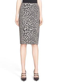 Max Mara 'Mida' Leopard Print Wool Jersey Skirt