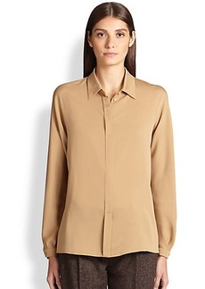 Max Mara Olimpo Silk Button-Front Blouse