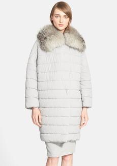 Max Mara Quilted Coat with Genuine Fox Fur Trim