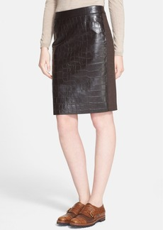 Max Mara 'Slam' Croc Embossed Leather & Wool Skirt