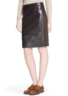 Max Mara 'Slam' Croc Embossed Leather & Wool Skirt