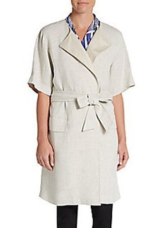 MaxMara Elbow-Sleeve Belted Linen Duster Coat
