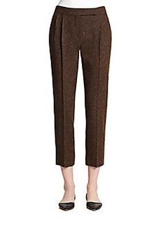 MaxMara Gambo Wool & Silk Tweed Cropped Pants