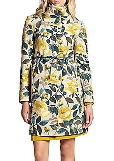 Weekend MaxMara Gatto Belted Floral-Print Coat