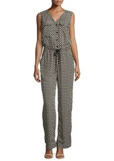 Max Studio 3D Grid-Print Knit Jumpsuit, Black/Ivory