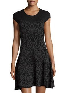 Max Studio Abstract-Print Sweater Dress, Black/Charcoal