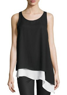 Max Studio Asymmetric Hem Colorblock Tank, Black/Ivory