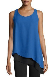 Max Studio Asymmetric Hem Colorblock Tank, Monaco Blue/Black