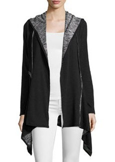 Max Studio Asymmetric Hooded Cardigan, Black/Cream
