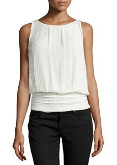 Max Studio Banded Stretch-Lace Tank, Ivory