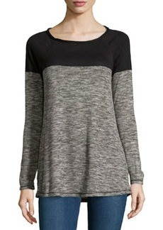 Max Studio Boat-Neck Colorblocked Pullover Sweater, Black/Ecru