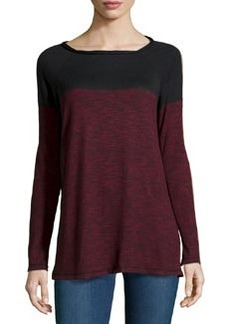 Max Studio Boat-Neck Colorblocked Pullover Sweater, Black/Oxblood