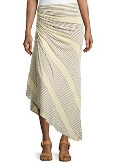 Max Studio Braided and Ruched Skirt, Heather Jute/Heather Citron