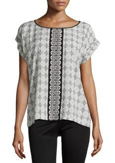 Max Studio Brick Tile Printed Rolled-Cuff Blouse, Black/Ivory