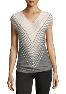 Max Studio Broad-Stripe V-Neck Top, Heather Bone/Heather Steel