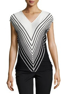 Max Studio Broad-Stripe V-Neck Top, Ivory/Black