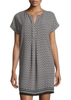 Max Studio Cap-Sleeve Stencil-Print Shift Dress