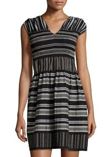 Max Studio Cap-Sleeve Striped A-Line Dress