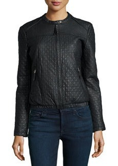 Max Studio Check-Quilted Faux-Leather Jacket, Black