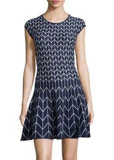 Max Studio Chevron-Print Fit-and-Flare Knit Dress, Navy/Cream