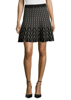 Max Studio Chevron-Print Stretch-Knit Circle Skirt
