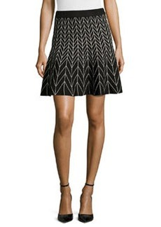 Max Studio Chevron-Print Stretch-Knit Circle Skirt, Black/Ivory