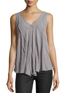 Max Studio Chevron-Seamed Georgette Top, Gray