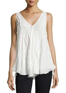 Max Studio Chevron-Seamed Georgette Top, Ivory