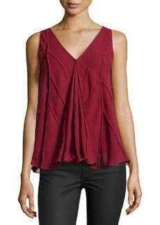 Max Studio Chevron-Seamed Georgette Top, Oxblood