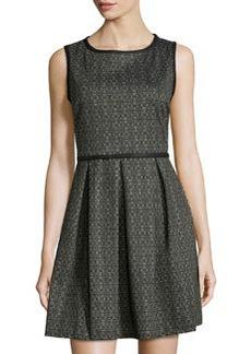 Max Studio Circle-Print Stretch-Knit Dress, Charcoal/Ink