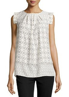 Max Studio Clover-Stencil Pleated Blouse, Beige