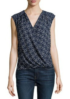 Max Studio Clover-Stencil Surplice-Neck Blouse, Navy