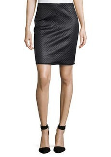 Max Studio Coated Basketweave-Design Skirt, Black