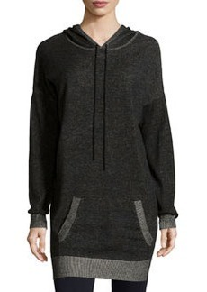 Max Studio Contrast-Trim Hooded Tunic, Black/Ecru