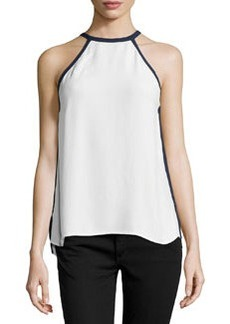 Max Studio Contrast-Trim Sleeveless Blouse, Ivory/Navy