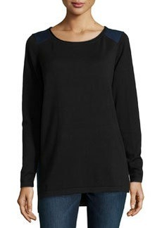Max Studio Cotton-Blend Two-Tone Sweater, Black/Sapphire
