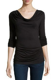 Max Studio Cowl-Neck Draped Jersey Top, Black